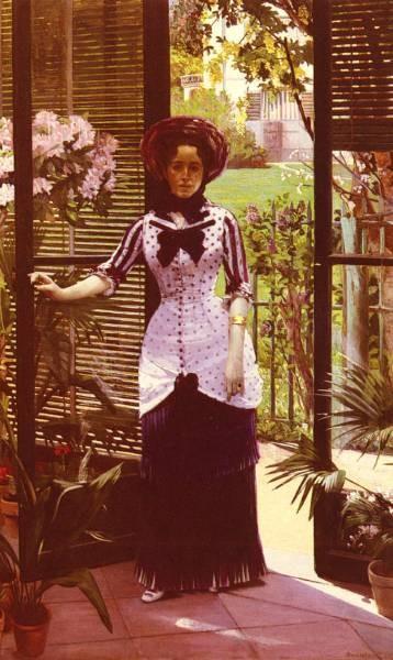 Portrait De La Femme D Artiste Entrant Dans La Serre